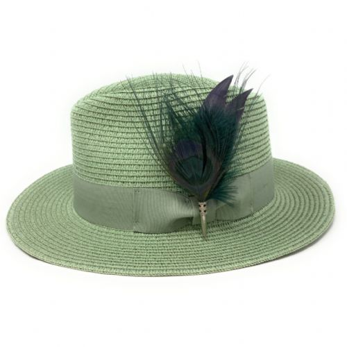 Womens Summer Fedora Hat with Removable Peacock Feather Brooch - Pistachio Green - Turkdean